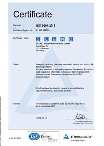 Zertifikat Qualitätsmanagement - Englisch